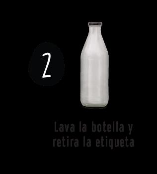Lava la botella y retira la etiqueta